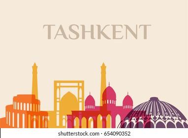 Landmark and monument isolated silhouette Tashkent city vector sign