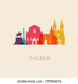 Landmark and monument isolated silhouette Zagreb city vector