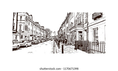 Landmark view with building of Bath is a town set in the rolling countryside of southwest England, Hand drawn sketch illustration in vector.