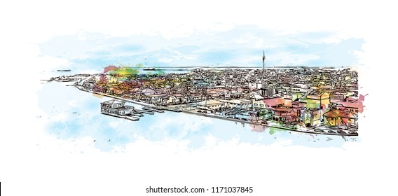 Landmark view with building in Belize City is a port city in the Central American country of Belize. Watercolor splash with Hand drawn sketch illustration in vector.