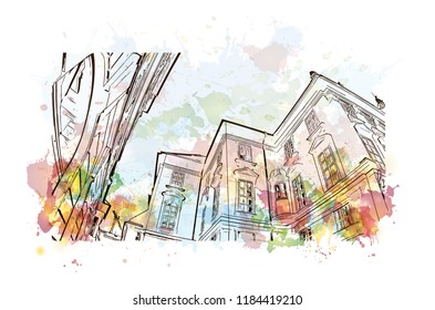 Landmark view with building of Bratislava, the capital of Slovakia. Watercolor splash with hand drawn sketch illustration in vector.