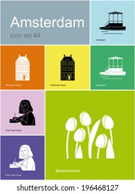 Landmarks of Amsterdam. Set of flat color icons in Metro style. Editable vector illustration.
