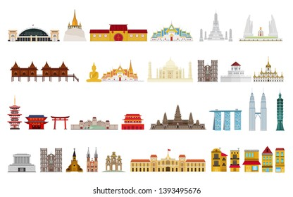 Landmarks of Asia. Cityscape, buildings, attractions. Vector