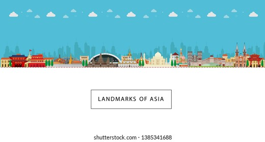 Landmarks of asia. Travel and tourism Cityscape, buildings background. Vector illustration