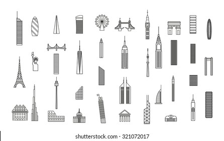 landmarks and buildings line famous monuments icons. london, new york, paris, hong kong, sydney, tokyo, dubai, rome