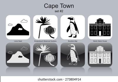 Landmarks of Cape Town. Set of monochrome icons. Editable vector illustration.