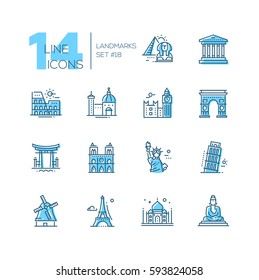 Landmarks - coloured vector modern single line icons set. Different landmarks as Statue of Liberty, Taj Mahal, Tower of London, Pyramid, Torii.