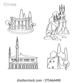 Landmarks of Crimea. Set of icons. Drawing vector illustration