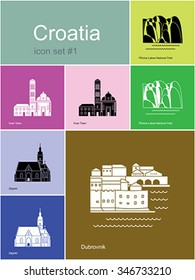 Landmarks of Croatia. Set of color icons in Metro style. Editable vector illustration.