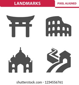 Landmarks Icons. Professional, pixel perfect icons, EPS 10 format.