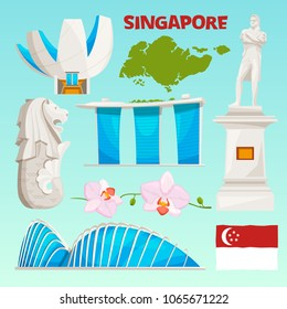 Landmarks icons set of singapore. Cartoon cultural objects isolate on white. Vector cityscape building, famous landmark architecture illustration