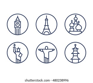 Landmarks icons set, world capital cities symbols. Paris Eiffel tower, London Big Ben, New York Statue of liberty and more. Minimal outline vector style.
