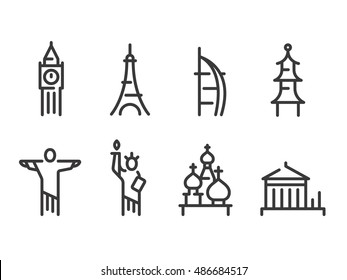 Landmarks icons set, world capitals symbols. Paris and London, Moscow and New York, Dubai and more. Line vector icons.
