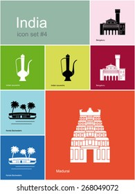 Landmarks of India. Set of color icons in Metro style. Editable vector illustration.