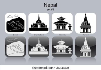 Landmarks of Nepal. Set of monochrome icons. Editable vector illustration.