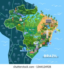 Landmarks on latin america map. Sightseeing of Argentina and Brazil country, city Sao Paulo, Buenos Aires with stadium, Rio de Janeiro with Christ statue.Towns with cathedrals, waterfall, Inca indians