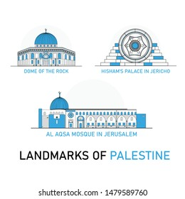 Landmarks of Palestine - Dome of the Rock in Jerusalem, Al Aqsa mosque in Jerusalem, Hisham's Palace in Jericho Flat Vector line style