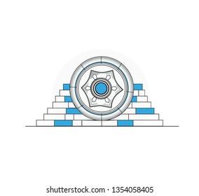 Landmarks of Palestine - Hisham's Palace in Jericho flat vector illustration - Vector