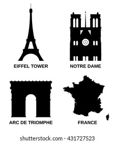 Landmarks of Paris. Vector icons.