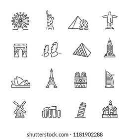 landmarks related icons: thin vector icon set, black and white kit