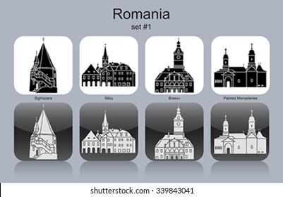 Landmarks of Romania. Set of monochrome icons. Editable vector illustration.