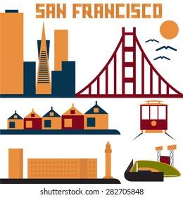 landmarks of San Francisco flat design