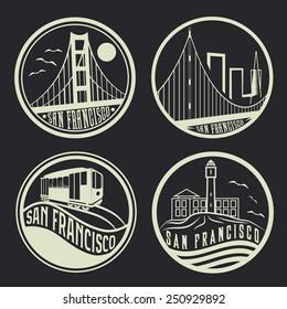 landmarks of San Francisco vintage labels set