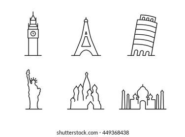 2256c626f Landmarks sen outline icons symbols vector: Big Ben London, Taj Mahal  India, Leaning