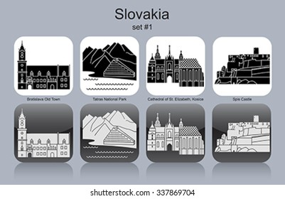 Landmarks of Slovakia. Set of monochrome icons. Editable vector illustration.