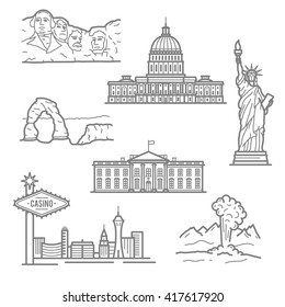 Landmarks of USA for travel  design with thin linear Statue of Liberty, casinos of Las Vegas, Capitol, White House, mount Rushmore, Arches National Park and geyser in Yellowstone Park