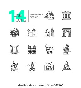 Landmarks - vector modern single line icons set. Different landmarks as Statue of Liberty, Taj Mahal, Tower of London, Pyramid, Torii.