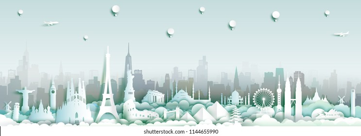 Landmarks of the world with city skyline background, Travel around the world to France,England,Spain,Italy,Egypt,America,Europe and Asia with paper cut and  style for travel poster and postcard.