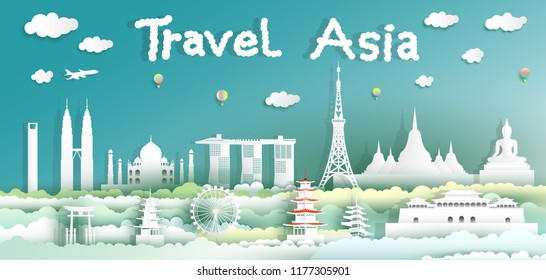 Landmarks of the world with city and tourism asia background, Travel around the world to Japan, China, Thailand, Malaysia, Asia with paper cut style, Paper art origami for travel poster and postcard.