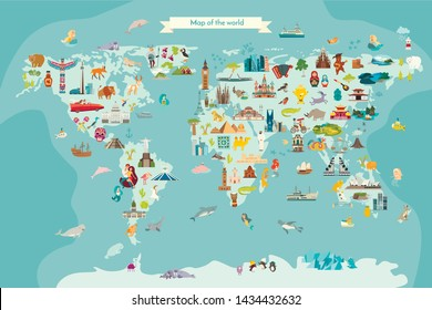 Landmarks world map vector cartoon illustration. Cartoon globe vector illustration.Oceans and continent: South America, Eurasia, North America, Africa, Australia