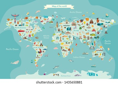 Landmarks world map vector cartoon illustration