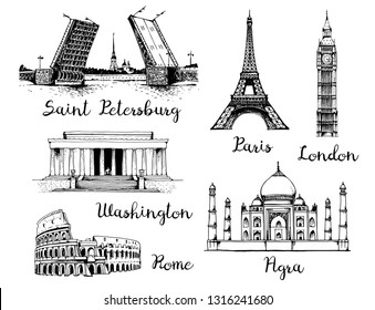 Landmarks of the world. Palace Bridge and Peter and Paul Fortress in Russia, Eiffel Tower in France, Elizabeth Tower (Big Ben) in England, White House and Lincoln Memorial in USA, Taj Mahal in India