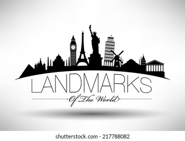 Landmarks of the World Typographic Design