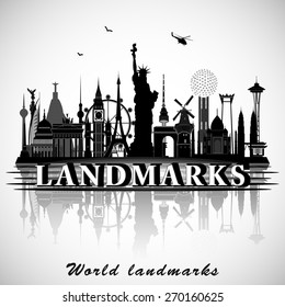 Landmarks of the World. Vector silhouettes