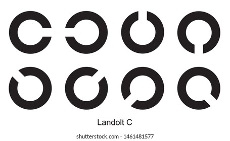 Landolt Rings Landolt C symbol Landolt Rings Landolt C sign on white background