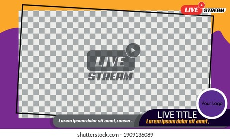 landscape 16:9 frame template for live video streaming or video editing with the sweet color scheme