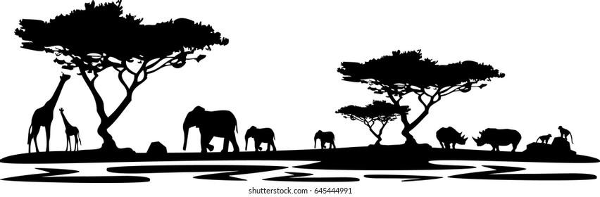landscape africa rhino