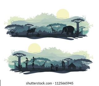 Landscape of Africa with the silhouettes of the indigenous people and wild animals