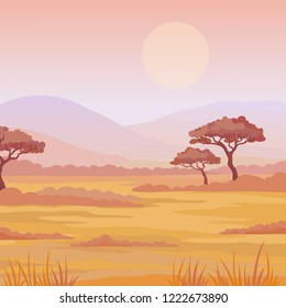 Landscape African savanna. Sunset. The place for the text. Vector illustration.