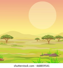 Landscape of the African savanna. Vector illustration.