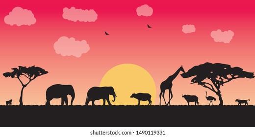 Landscape of African savannah. Animals in wild nature.