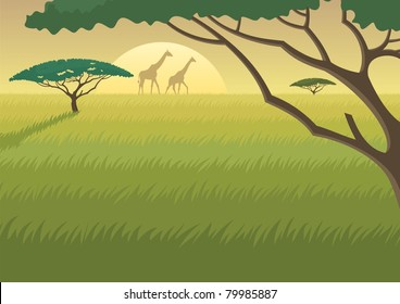 Landscape of the African Savannah at dusk/dawn. A4 proportions. You can extend the last grass layer downwards and use it to fit as much text as you like.