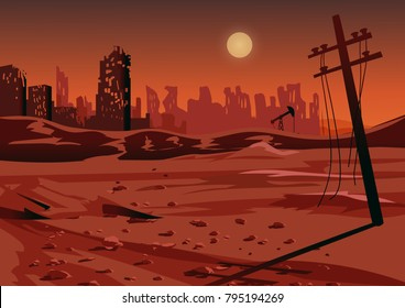 Landscape after a nuclear war or an environmental disaster, vector illustration.