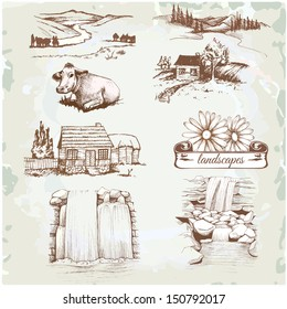 landscape, agriculture, farming, sketch drawing