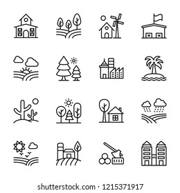 Landscape and Agriculture Line Icons