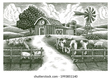 Landscape of animal farm hand draw vintage engraving style black and white clip art isolated on white background